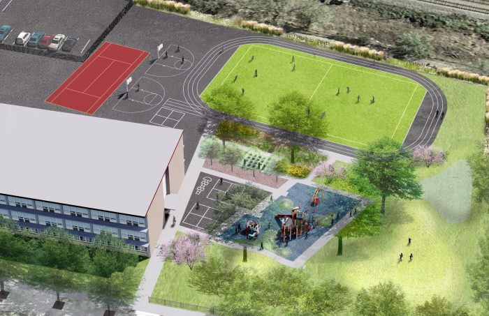 3D Rendering of a schoolyard with a play structure, gardens, trees, a turf field within a track.