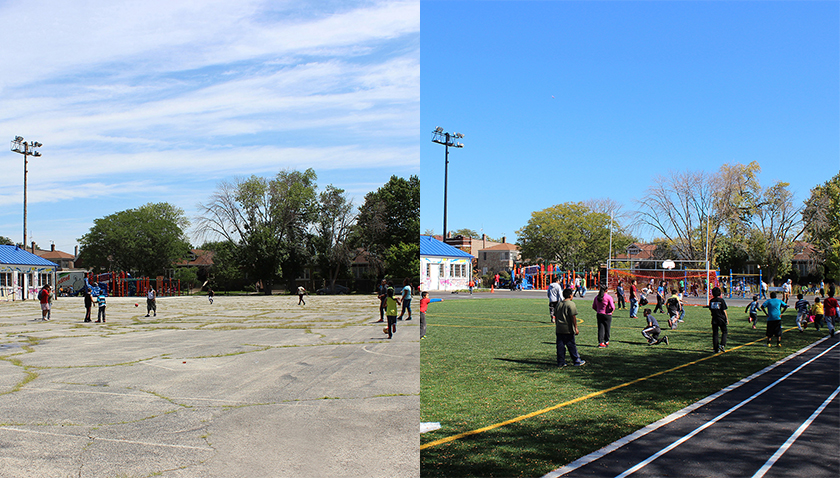 Donald L Morrill Math & Science School before and after greening and gardening by Space to Grow in Chicago