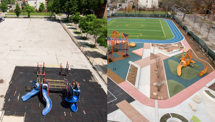 before and after of Wadsworth Elementary School's schoolyard in Chicago