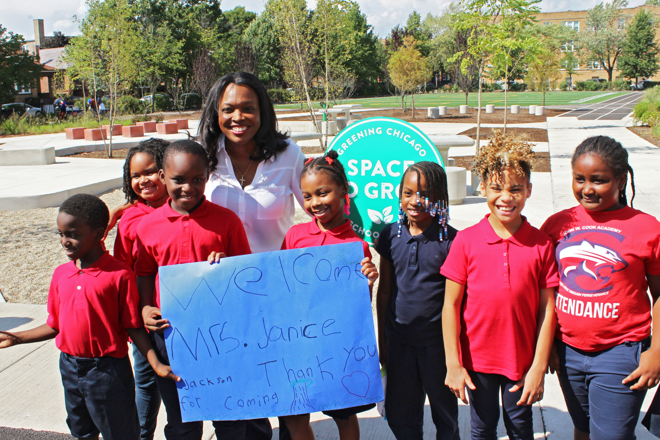 Cook Elementary students with Chicago Public Schools CEO Janice Jackson