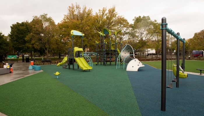 New playground equipment at the Space to Grow schoolyard at Morton in Chicago