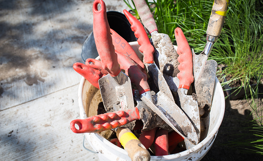 many school garden tools in a bucket
