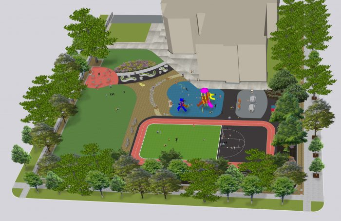 3D rendering of a schoolyard and fitness track.